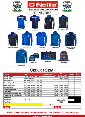 Order form for club kit sale next Monday & Tuesday