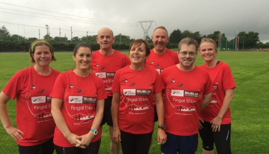 Half of our Fingal 10K gang donning the Tees to kickstart a rather wet training session.
