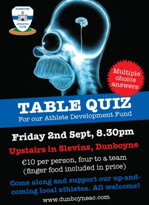 Table Quiz next Friday 2nd!