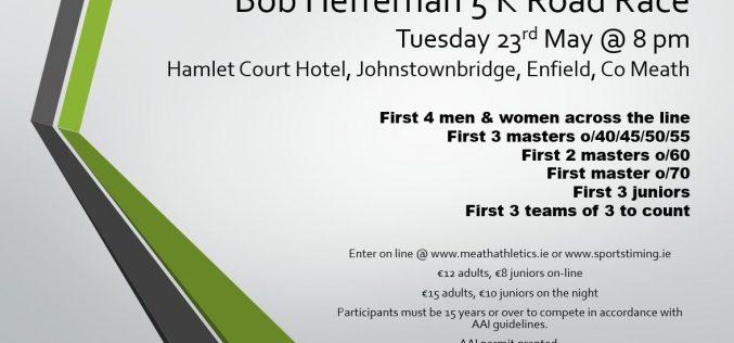 Bob Heffernan 5k Road race, 23rd May